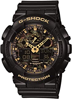 Men's GA-100CF-1A9CR G-Shock Camouflage Watch With Black Resin Band