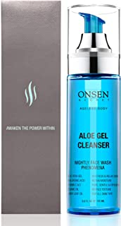Onsen Japanese Aloe Vera Face Wash - Premium Nightly Facial Cleanser for Makeup Removal, Heals Dry & Sensitive Skin, Hyaluronic Acid, Curry Leaf Oil, Vitamin C & E, Gel Cleanser - 5.6 fl oz/165 ml