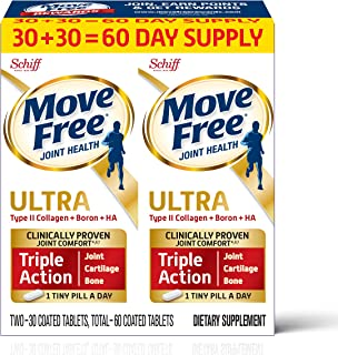 Type II Collagen, Boron & HA Ultra Triple Action Tablets, Move Free (60 count In A Value Pack Box), Joint Health Supplemen...