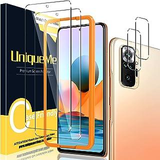 Uniqueme [2+2-pack] Skyddsfilm kompatibel med Xiaomi Redmi Note 10 Pro/Pro Max pansarglas och kameraskyddsglas, [anti-reps...