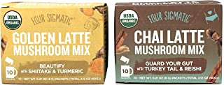 Four Sigmatic Golden Latte Mushroom Mix and Chai Latte Mushroom Mix – USDA Organic, Vegan, Paleo Instant Mushroom Latte Mix