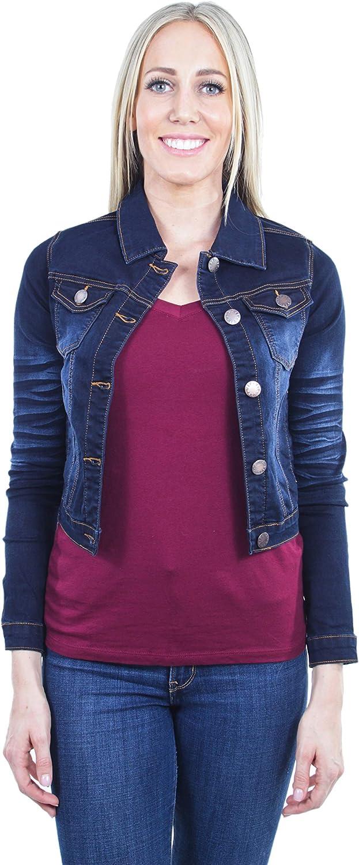 Women's Juniors Cropped Ripped Denim Jackets Long Sleeve Jean Coats