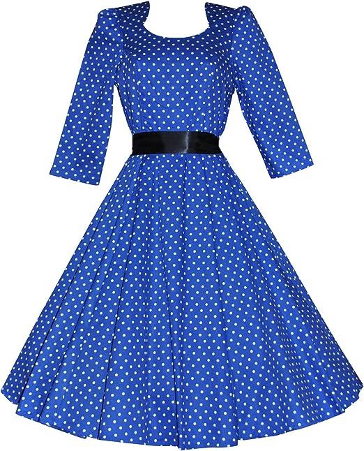 Love Camden Damen Schlaghose Kleid Gepunktet Blau Blau 34 Amazon De Bekleidung
