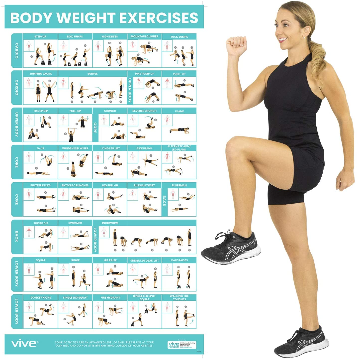Vive Body Weight Workout Poster   Bodyweight Exercises For Home Gym    Laminated Hitt Chart For Abs, Glute, Core, Legs, Arms, Back   No Equipment  ...