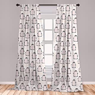 Ambesonne Penguin Window Curtains, Doodle Style Cartoon Animals from Antarctica with Crowns on a Dotted Background, Lightweight Decorative Panels Set of 2 with Rod Pocket, 56
