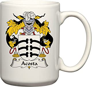 Acosta Coat of Arms/Acosta Family Crest 15 Oz Ceramic Coffee/Cocoa Mug by Carpe Diem Designs, Made in the U.S.A.