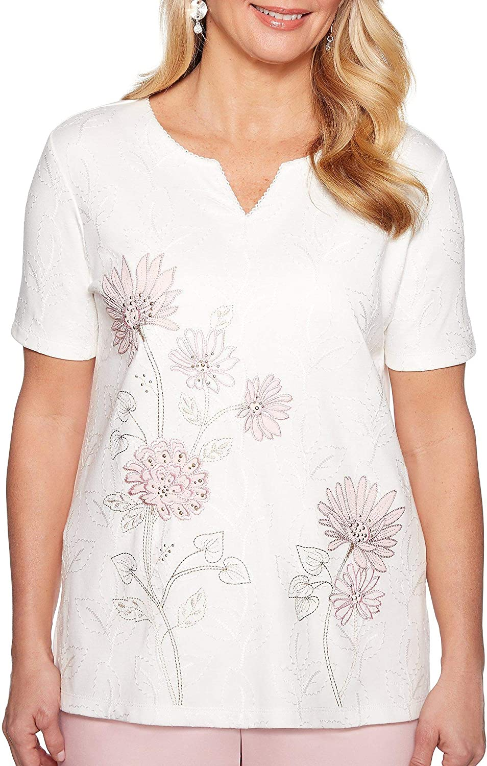Alfred Dunner Petite Society Page Floral Embroidery Top