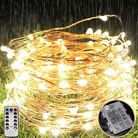 LEDイルミネーションライ ウォームホワイト ホワイト ワイヤーライトフェアリーライト 銅線 電池式8モード 点滅ライト led クリスマス 室内 外兼用 パーティー 飾りライト 防水LEDイルミネーションライト ストリングライトフェアリーライト(10M100LED)