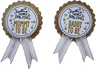 Mommy to Be & Daddy to Be Pin Twinkle Little Star Baby Shower Pin for parents to wear White & Gold It's a Girl It's a Boy Baby Sprinkle