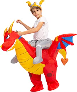 Spooktacular Creations Inflatable Costume Dragon Riding a Fire Dragon Air Blow-up Deluxe Halloween Costume - Child