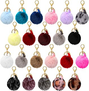 22 Pieces Pom Poms Keychain Fluffy Faux Fur Pompoms Keychains with Tassel Pendants Colorful Pompoms Ball Tassel Keyrings f...