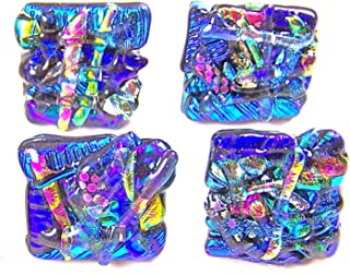 Dichroic Glass Knobs Custom Made Abstract Layered Mosaic - Cabinet or Drawer Pull Handle - 1