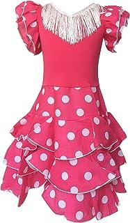 La Senorita Spanische Flamenco Kleid Niño Deluxe / Kostüm - für Mädchen / Kinder - Rosa / Weiß Größe 128-134 - Länge 85 cm- 7-8 Jahr