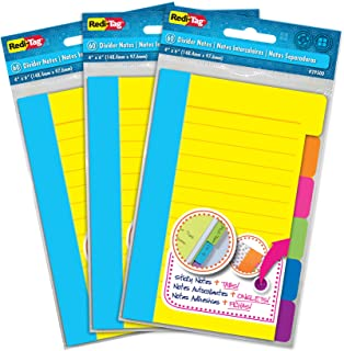 "Redi-Tag Divider Sticky Notes, 60 Ruled Notes per Pack, 4"" x 6"", Assorted Neon Colors, 3 Pack (10245)"
