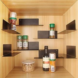BasicForm Especiero Organizador Apilable, 2 Opciones de Instalación Bandas/Tornillos, Estantes de Metal para el Gabinete de la Cocina (Paquete de 8 Negro)