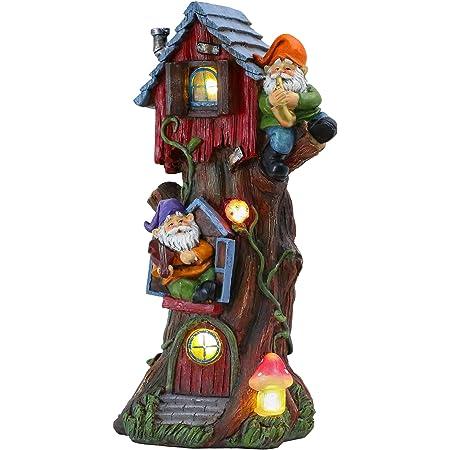 TERESA'S COLLECTIONS 37cm Maison de Fée Éclairée par LED à Énergie Solaire GNOME Statue de Jardin, Ornement de Jardin d'habitation,Cabane en Résine pour la Décoration Extérieur