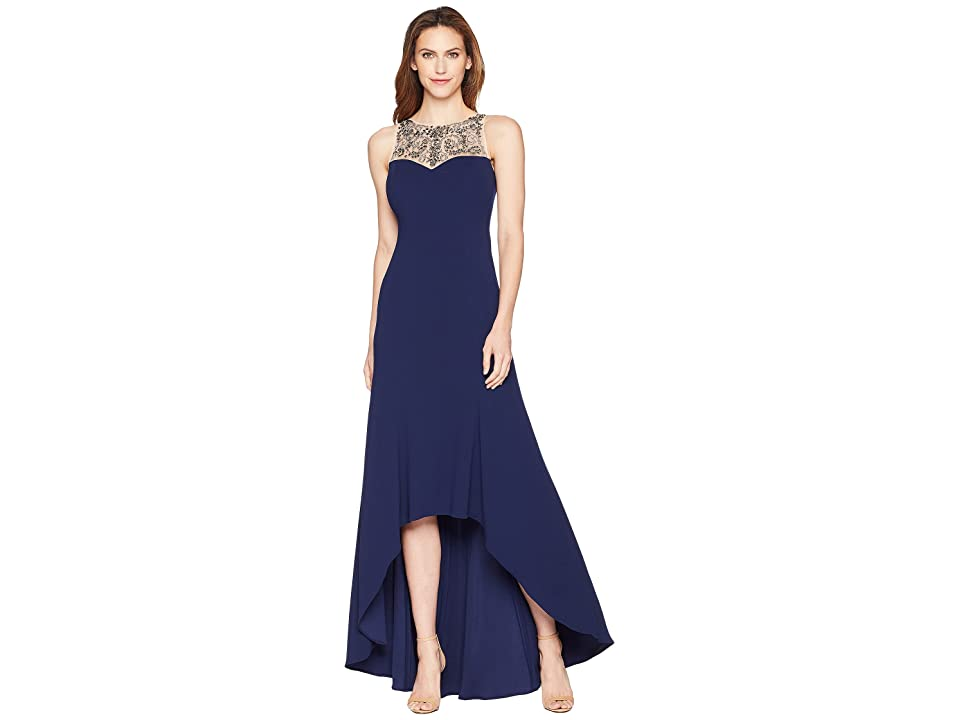 Adrianna Papell Beaded Crepe Gown (Light Navy) Women