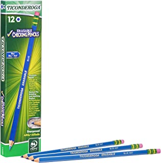 TICONDEROGA Erasable Checking Pencils with Eraser, Pre-Sharpened, Blue, Pack of 1 (12 ct)