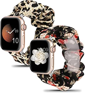 Wearlizer 2 Packs Adjustable Compatible with Apple Watch Band Scrunchies 38mm 42mm, Stretchy Soft Cloth Cute Printed Fabric Bracelet Girls Elastic Strap Wrist Band for Iwatch Series 7/SE/6/5/4/3/2/1