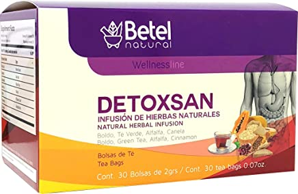 Detoxsan Total Detox Tea by Betel Natural - Whole Body Detox Formula - 30 Tea Bags