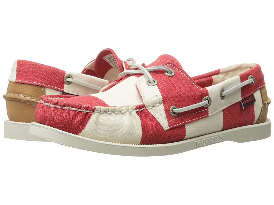 Image of Sebago Spinnaker (Red/White Striped Canvas) Women's Lace up casual Shoes
