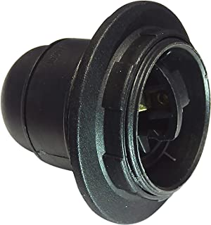 Electraline 70130 Threaded E27 Socket with Ring Black