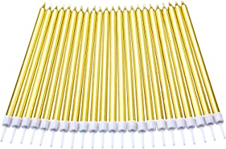 Blulu 50 Pieces Birthday Cake Candles Thin Cake Cupcake Candles in Holders for Birthday Wedding Party Cake Decorations Supplies (Long, Gold)