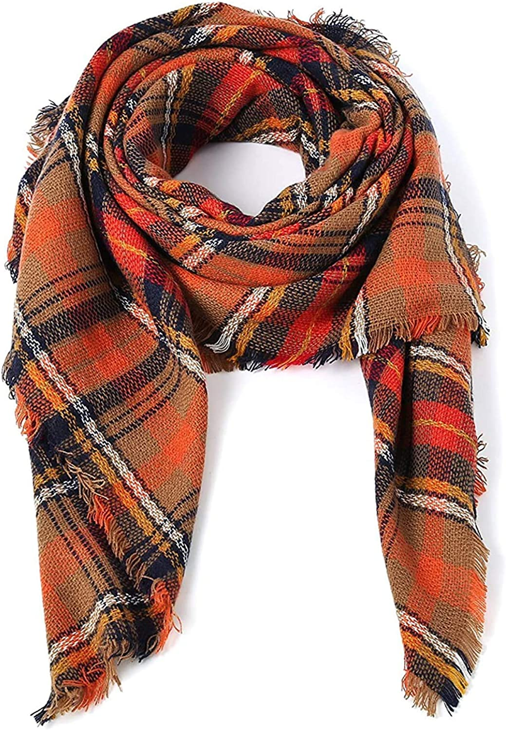 Neck Warmer Women's Scarf Women's Scarf MKLP Tassel Scarf Winter Ladies Scarf Large Warm Shawl Plaid Scarf Large Shawl Keep Warm and Prevent Cold For Women