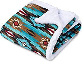 TrailCrest Ultra Soft Sherpa Fleece Throw Blanket, Cozy Plush Adult Blanket for Men & Women, Reversible with Aztec Prints, Machine Washable, 6 Colors