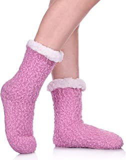 HERHILLY Women Cable Knit Slipper Socks - Super Soft Warm Fuzzy Home Socks with Gripper