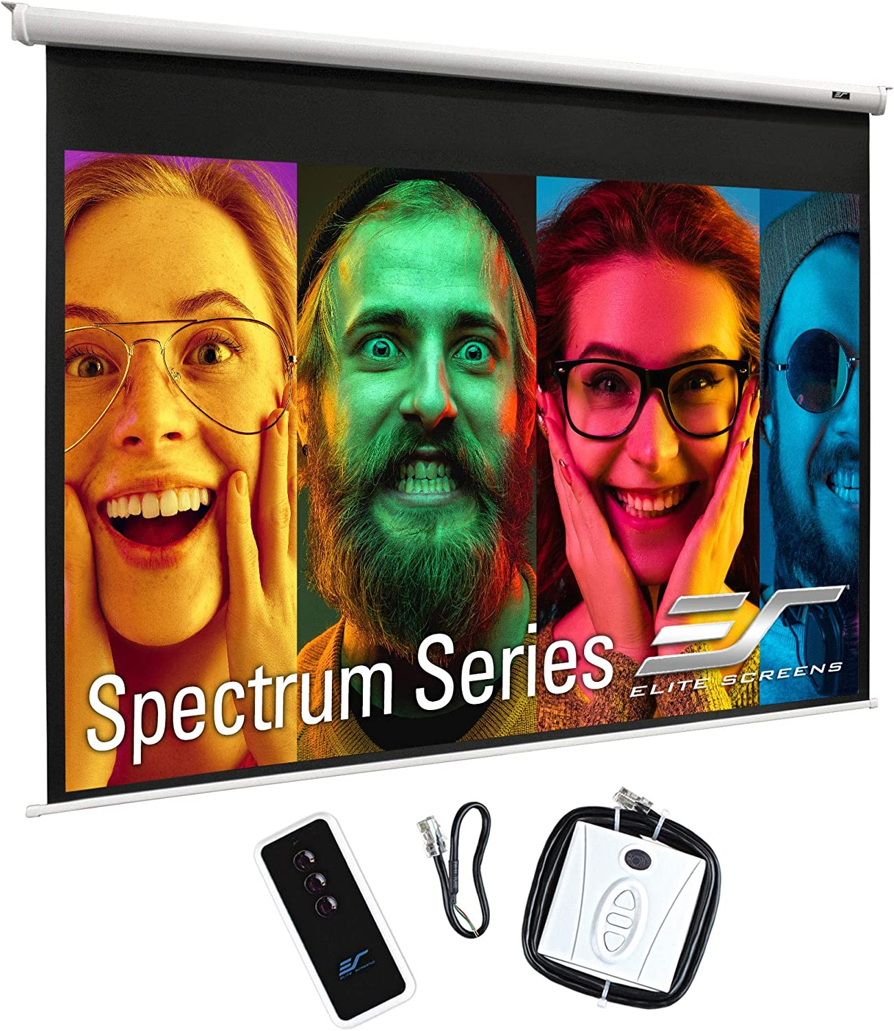 Elite Screens Spectrum Electric Motorized Projector Screen with Multi Aspect Ratio Function Max Size 120-inch Diag 4:3 + 110-inch Diag 16:9, Home Theater 8K/4K Ultra HD Ready Projection, ELECTRIC120V