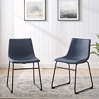 Walker Edison Furniture Company Modern Faux Leather Upholstered Dining Chair, Set of 2, Navy Blue