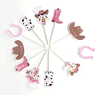 Cowgirl Cupcake Toppers 12 pcs - Pink Western Cake Picks Birthday Decoration Party Supplies, Girl Baby Shower Themed