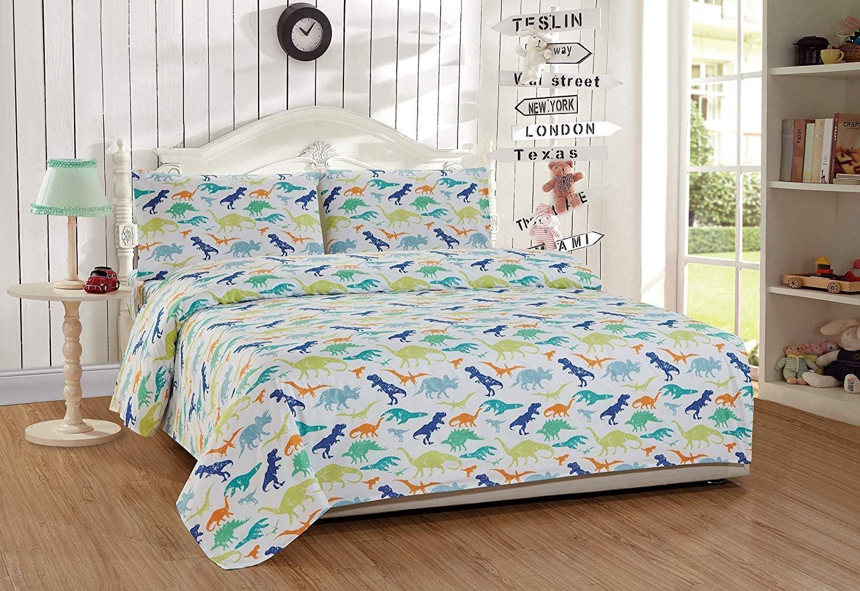 Sheet Set Multi Colors Dinosaur Green Blue Orange White New # Dinosaur Green Twin