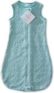 SwaddleDesigns Microfleece Sleeping Sack with 2-Way Zipper, Turquoise Puff Circles, 0-6MO