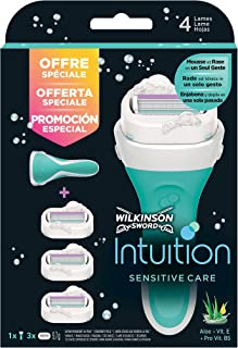 Wilkinson Sword Pack Intuition Sensitive Care - Maquinilla depilatoria y enjabonadora femenina Intuition + 3 cuchillas autoadaptables con cintas de seda hidratantes