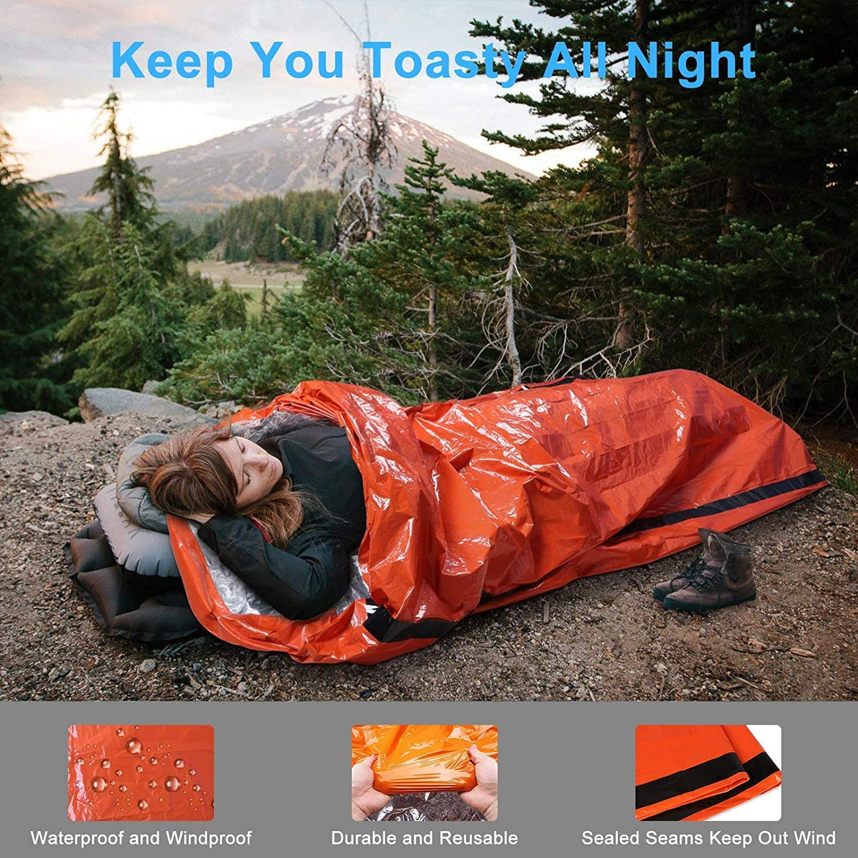 Hiking EEEKit Emergency Sleeping Bag Outdoor Activities 2Pack Lightweight Waterproof Survival Bivy Sack Thermal Emergency Blankets Portable Mylar Survival Gear with Survival Whistle for Camping