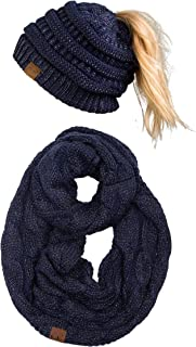 Womens Infinity Scarf and Messy Bun Beanie Tail Matching Winter Set