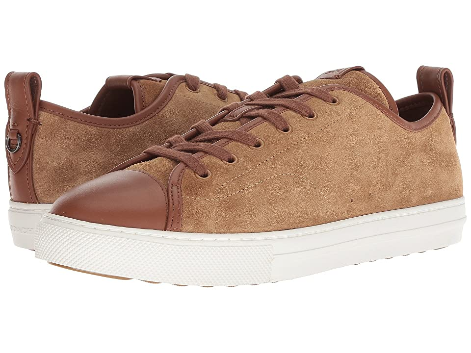 COACH Mixed Material Cap Toe C121 Low Top Sneaker (Peanut/Lion) Men