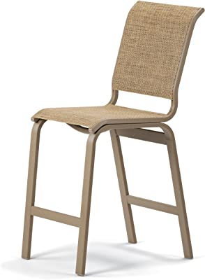 Telescope Casual Furniture Aruba II Sling Collection Balcony Height Armless Chair, Navy, Gloss White Finish