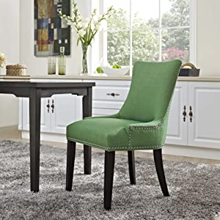 Modway Marquis Modern Elegant Upholstered Fabric Parsons Dining Chair With Nailhead Trim And Wood Legs, Side, Kelly Green