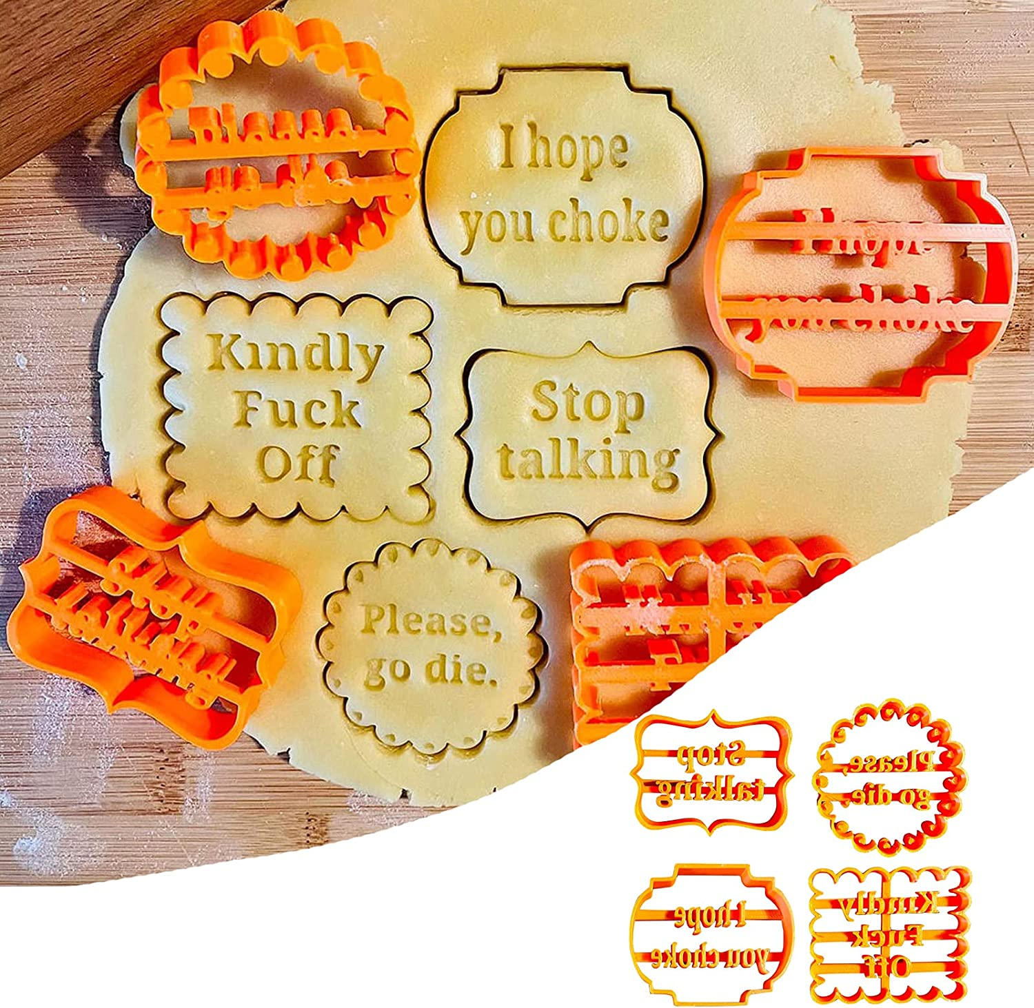 Cookie Molds With Good online shop Wishes Embossing Cutter 4Pcs New Orleans Mall Mold