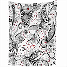 Ahawoso Tapestry Wall Hanging 60x80 Inches Classic Doodle Black Red White Pattern Floral Vintage Border Flower Zentangle Ancient Antique Leaves Home Decor Tapestries Art for Living Room Bedroom Dorm