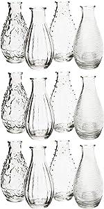 MIK funshopping Dekoflaschen Vase Fläschchen aus Glas modern Decor 14 x 7 cm (12)