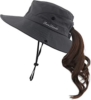 Muryobao Women's Summer Mesh Wide Brim Sun UV Protection Hat with Ponytail Hole