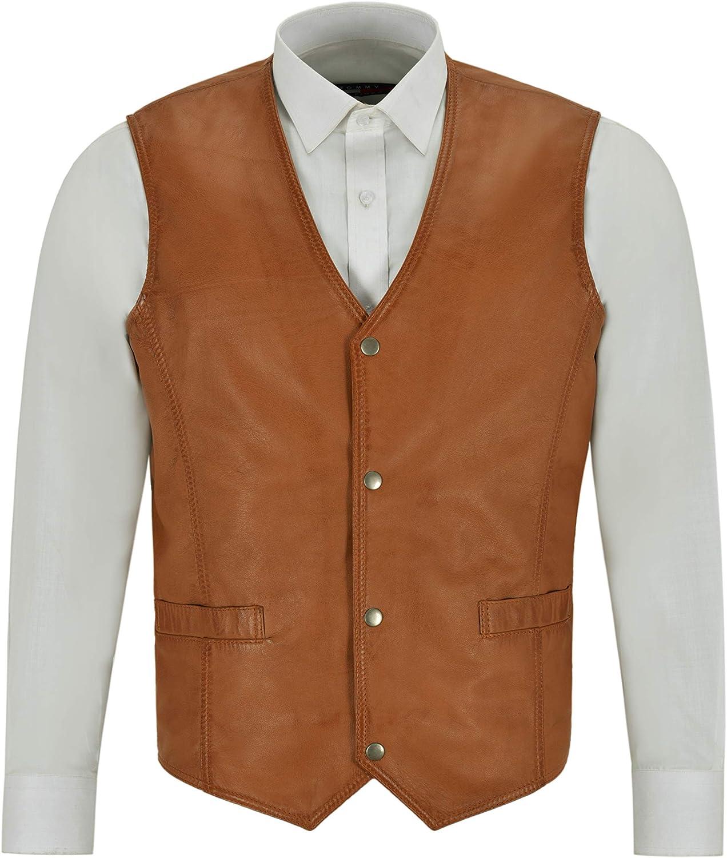 Men's Leather Waistcoat Gilet Formal Classic Tan Real Leather Biker Vest 1118 WC