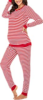 Maternity & Nursing Thermal Underwear Set Striped Knit Long Johns Set Top & Bottom Base Layer for Pregnant Women