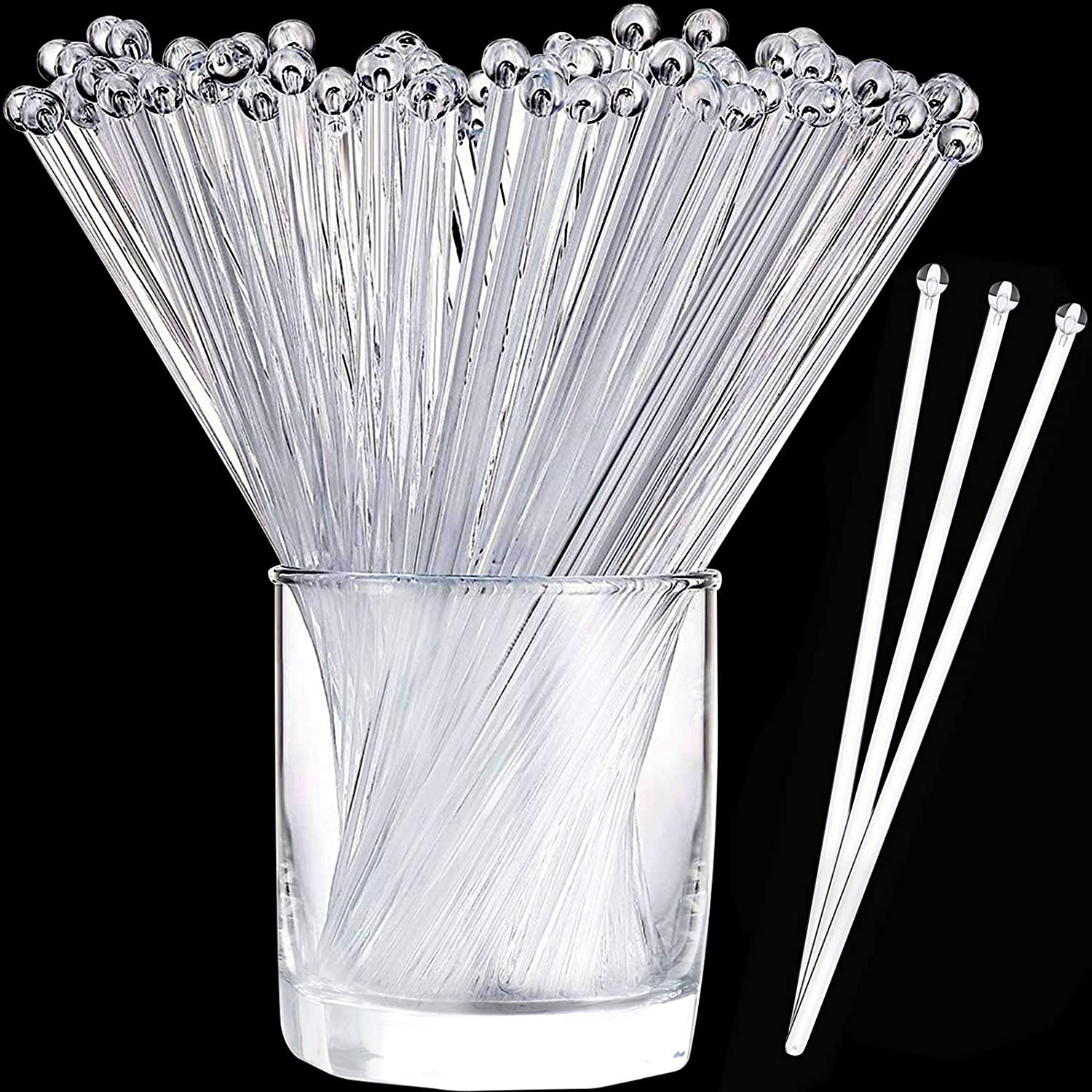Aboat 120 Pieces 7.3 Cheap mail order shopping Inch Plastic Crys Price reduction Top Sticks Swizzle Round