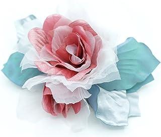 Spilla fiore blu grigio / rosa / Avorio taffettà del tessuto, raso, organza.