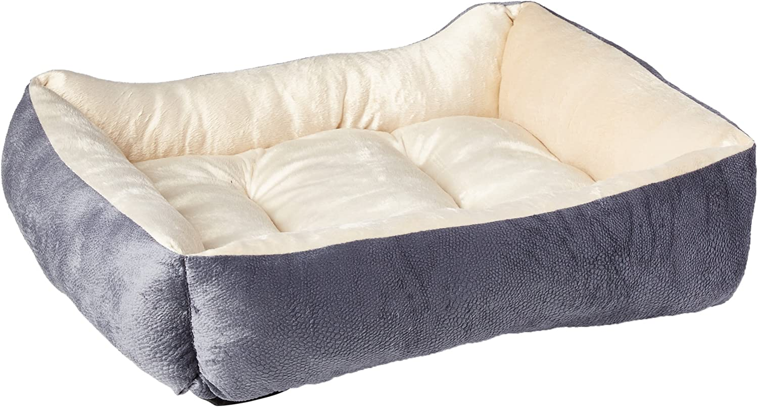 HappyCare Textiles HCT REC002 Luxury Embossed Rectangle Micro Mink Dog and Pet Bed, Burn Out Grey